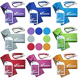 """Cooling Towel for Instant Relief 33"""" Long Ultra Soft Breathable Mesh Yoga Towel Keep Cool for Running Biking Hiking Golf & All Other Sports, Waterproof Bag Packaging with Carabiner"""