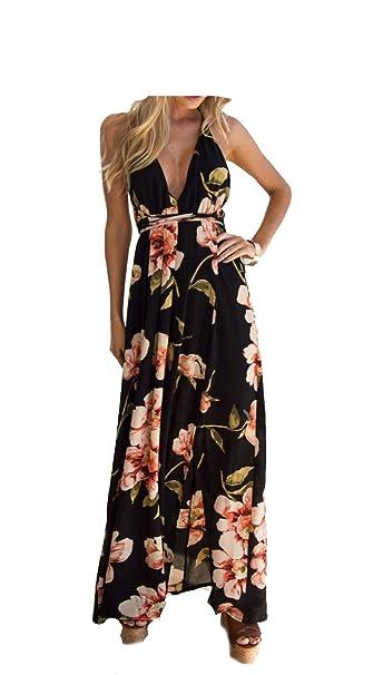 6d6c8de60894 Amazon.com: TYFeng Women's Deep V Neck Short Sleeve Floral Chiffon Wrap Split  Maxi Long Dress: Clothing