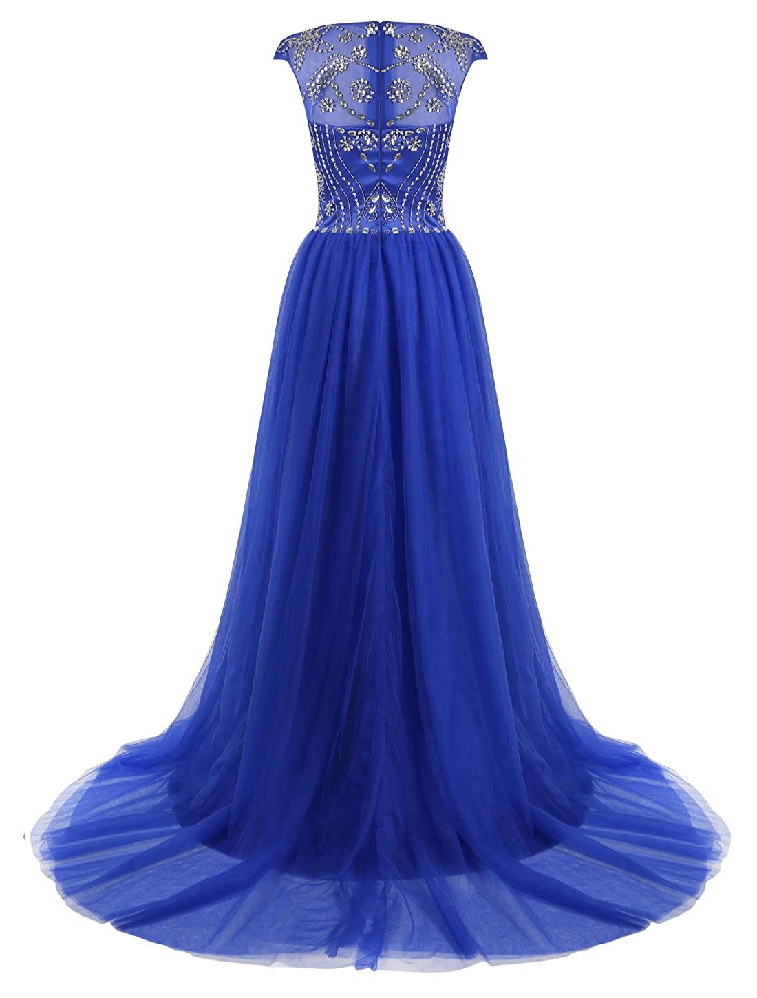 8eeb13cc898 ALAGIRLS Beaded Prom Dress Long Tulle Homcoming Evening Gowns Cap Sleeves  at Amazon Women s Clothing store