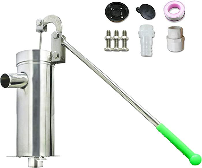 Suction Pump TBVECHI Stainless Steel Manual Water Jet Pump Domestic Well Hand Shake Suction Pump Groundwater for Home Garden Yard