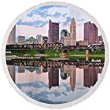 Pixels Round Beach Towel With Tassels featuring ''Columbus Ohio Reflects'' by Frozen in Time Fine Art Photography