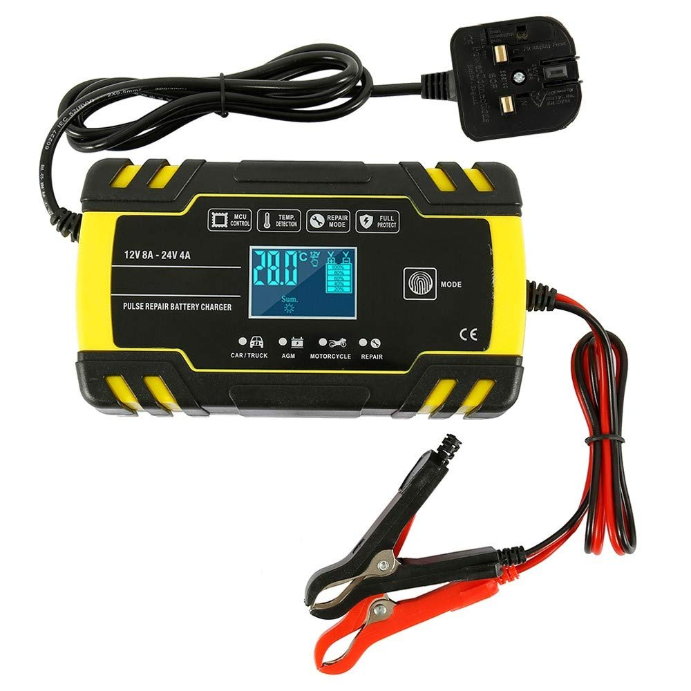 Dandelionsky Car Battery Charger and Maintainer, 12V 24V 3 Stage Intelligent Automatic Battery ChargerMaintainer with LCD Screen and 6 Charging Mode