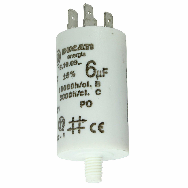 SPARES2GO Universal Appliance Motor Start Run Capacitor Microfarad 6.3UF Spade Connector//Tags