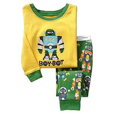 2018 Boys Bot Cartoon Pattern Boys Pajamas Set 2T-7T Cotton Cozy Breathable