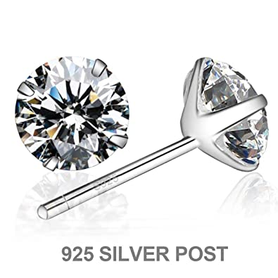 0aee32ac8aa03 Enameljewelries 18K Genuine Gold Post and Swarovski Cut CZ Stud Earrings  with 3 Firm Sterling Silver Prong for Women.