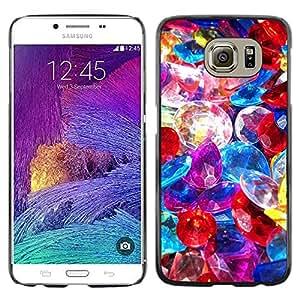 TopCaseStore / la caja del caucho duro de la cubierta de protección de la piel - Precious Stones Pile Jewelry Colorful Glass - Samsung Galaxy S6 SM-G920