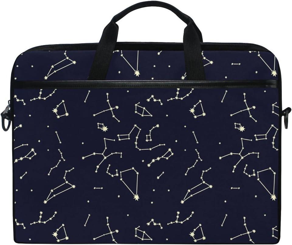 JSTEL Space Galaxy Nebula Universe 12 Constellations Laptop Shoulder Messenger Bag Case Sleeve for 14 inch to 15.6 inch with Adjustable Notebook Shoulder Strap