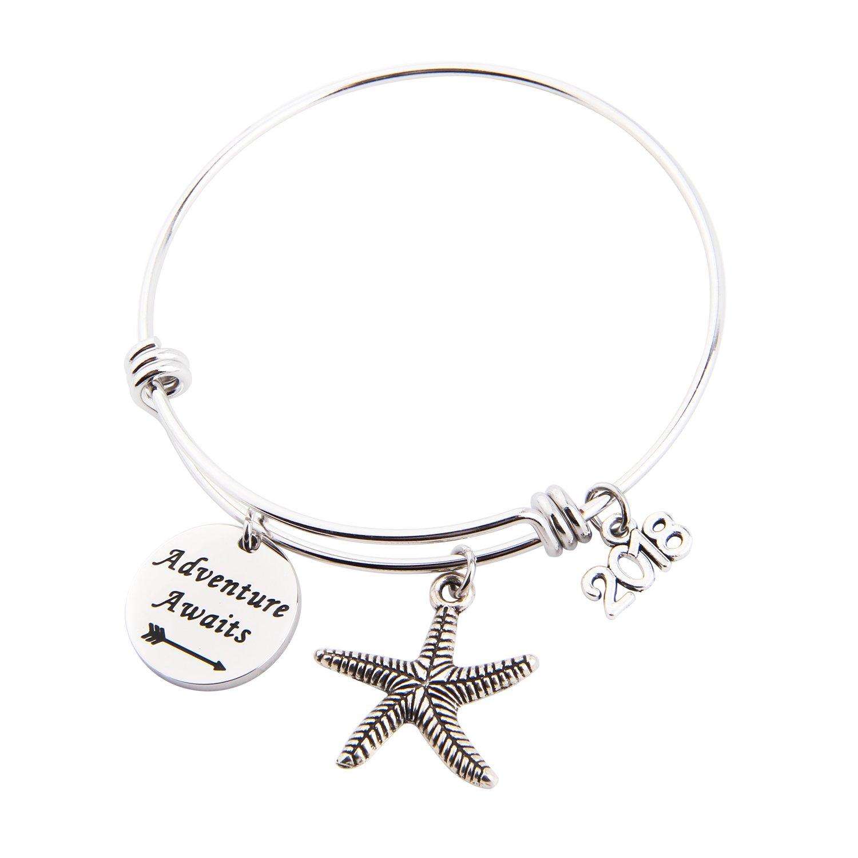 MAOFAED Adventure Await Graduation Gift Travel Bracelet New Job Gift Going Away Gift for her (Adventure Await Bracelet)