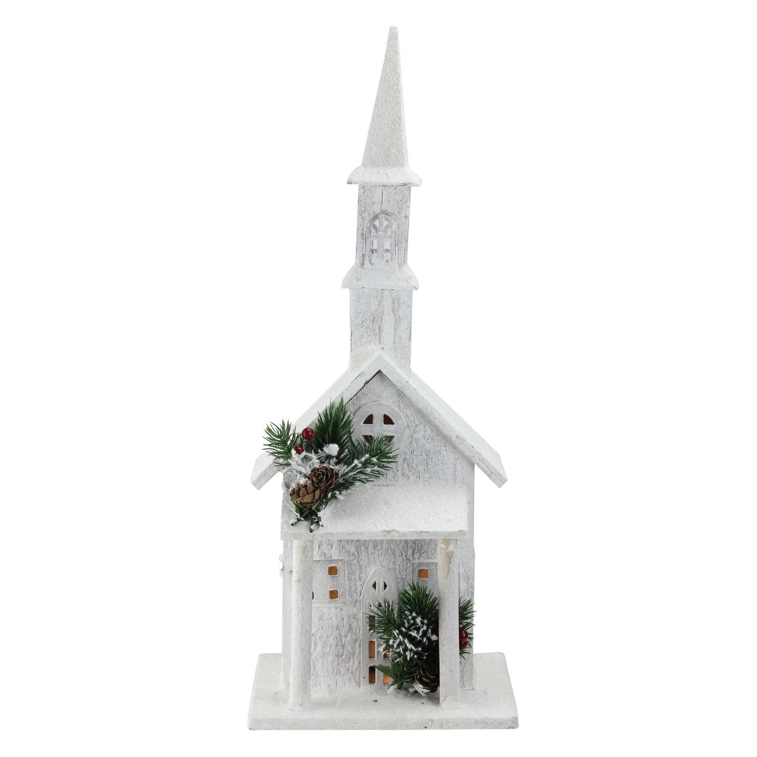 Northlight 22'' LED Lighted White Wooden Snowy Church Christmas Decoration
