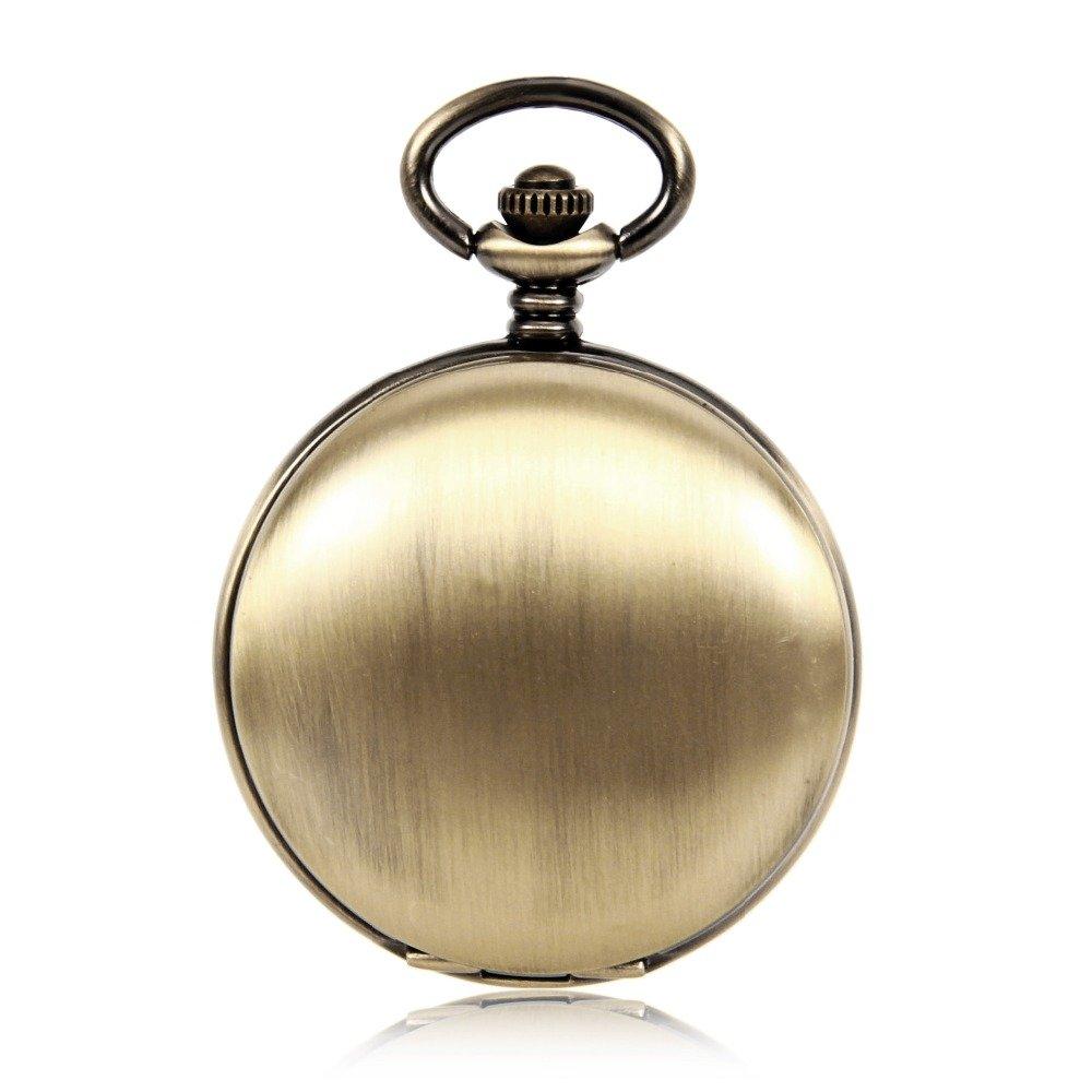 単純なラウンドMechanicalメンズポケット腕時計Roman Numbers自動自己風ヴィンテージアンティークアナログPocket Watch W /チェーンギフト B01NBAA0AO