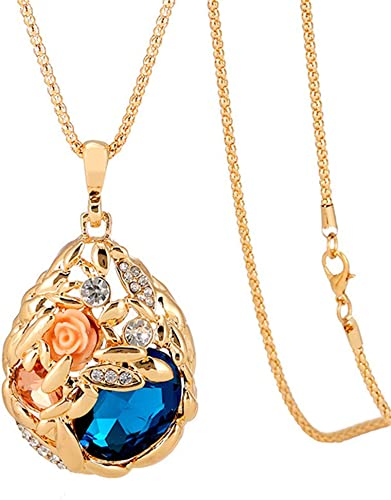 Long Pearl Rhinestone Pendant Sweater Chain Crystal Necklace Jewelry Fashion  FM
