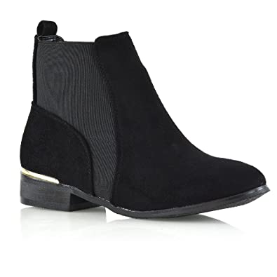 Womens Chelsea Boots Elasticated Gusset Flat Casual Ankle Booties