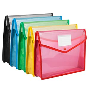 A4 Plastic Wallet, Acrux7 Document Folder with Pocket, 5 Pack A4 Envelope Folder with Button Closure, Waterproof Transparent File Folders, 5 Assorted Colors- Blue, Green, Black, Red, Yellow