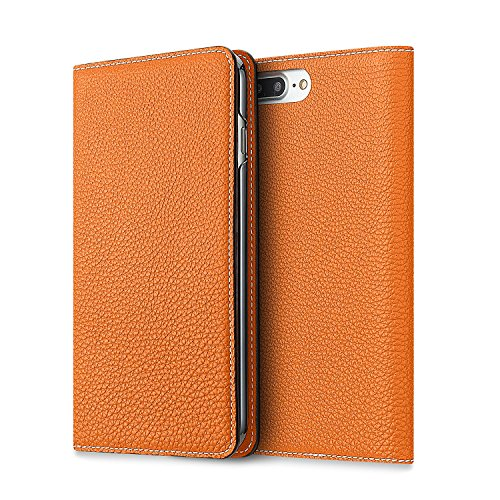 ❥ BONAVENTURA Leather Wallet Diary Flip Case [Compatible with iPhone 8/7 Plus | Orange] orange iphone 8 plus case 10