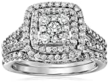 IGI Certified 14k White Gold Diamond Double Cushion Cluster Bridal Wedding Ring Set (1 1/4 cttw, H-I Color, I1-I2 Clarity), Size 7
