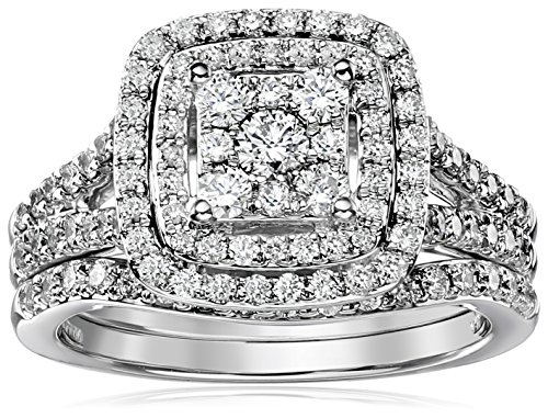 Diamond Cluster Bridal Set - IGI Certified 14k White Gold Diamond