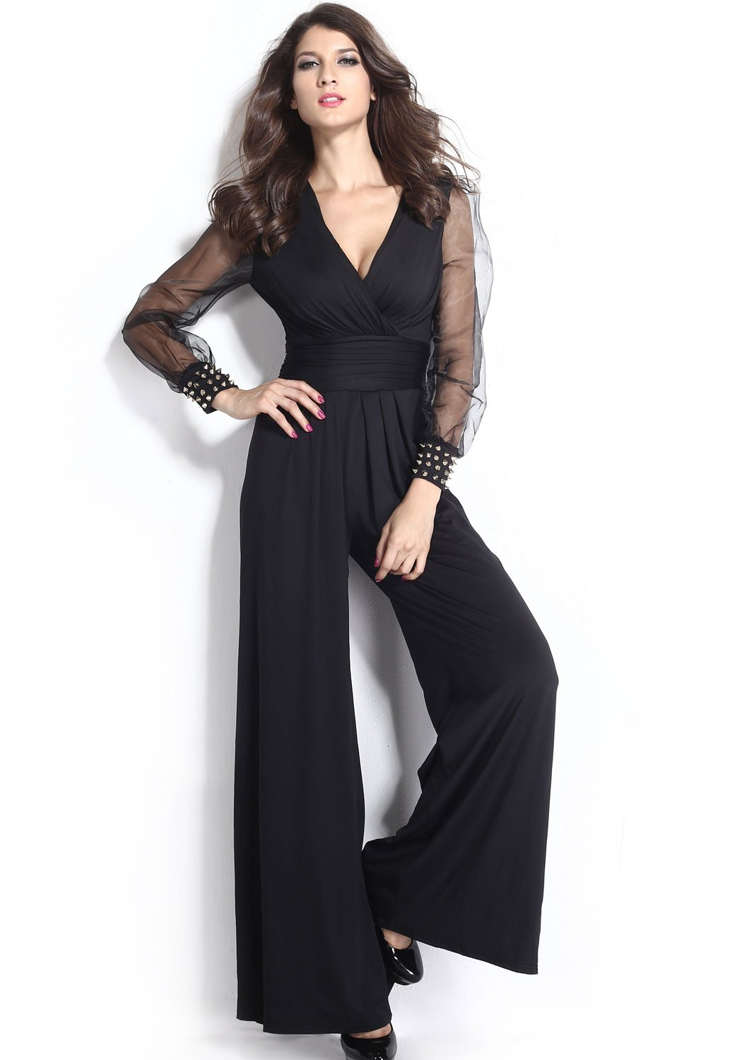 KaleaBoutique Slimming Embellished Cuffs Long Mesh Sleeves Sexy Women Ladies Jumpsuit, Black, Size XXL (US 18-20)