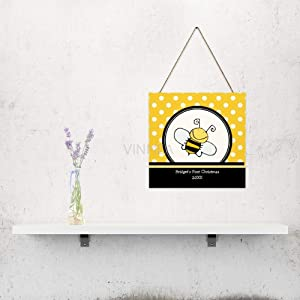 "VinMea Bee Yellow Black Christmas, Home Door, Farmhouse Wall Door, Wall Art Gift, Wall Art, Home Wood Plaque, Wooden Sign 6"" X 6"""