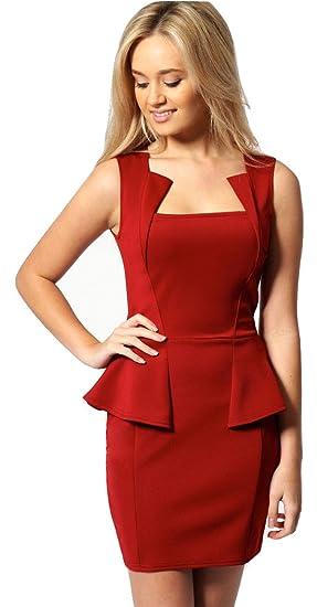 f8532566ec New Mesdames Rouge Mini robe péplum Bureau Soirée d'été Robe de soirée Taille  unique