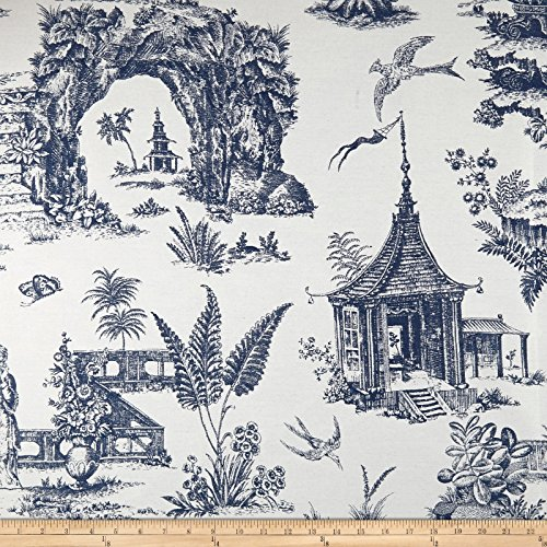 den Toile Indoor/Outdoor Denim Fabric By The Yard (Garden Toile Fabric)