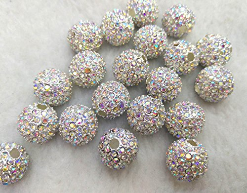 100pcs AB mystic White Micro Pave Crystal Shamballa Ball beads 6mm, Micro Pave Findings Charm, Round connector by weekbeads