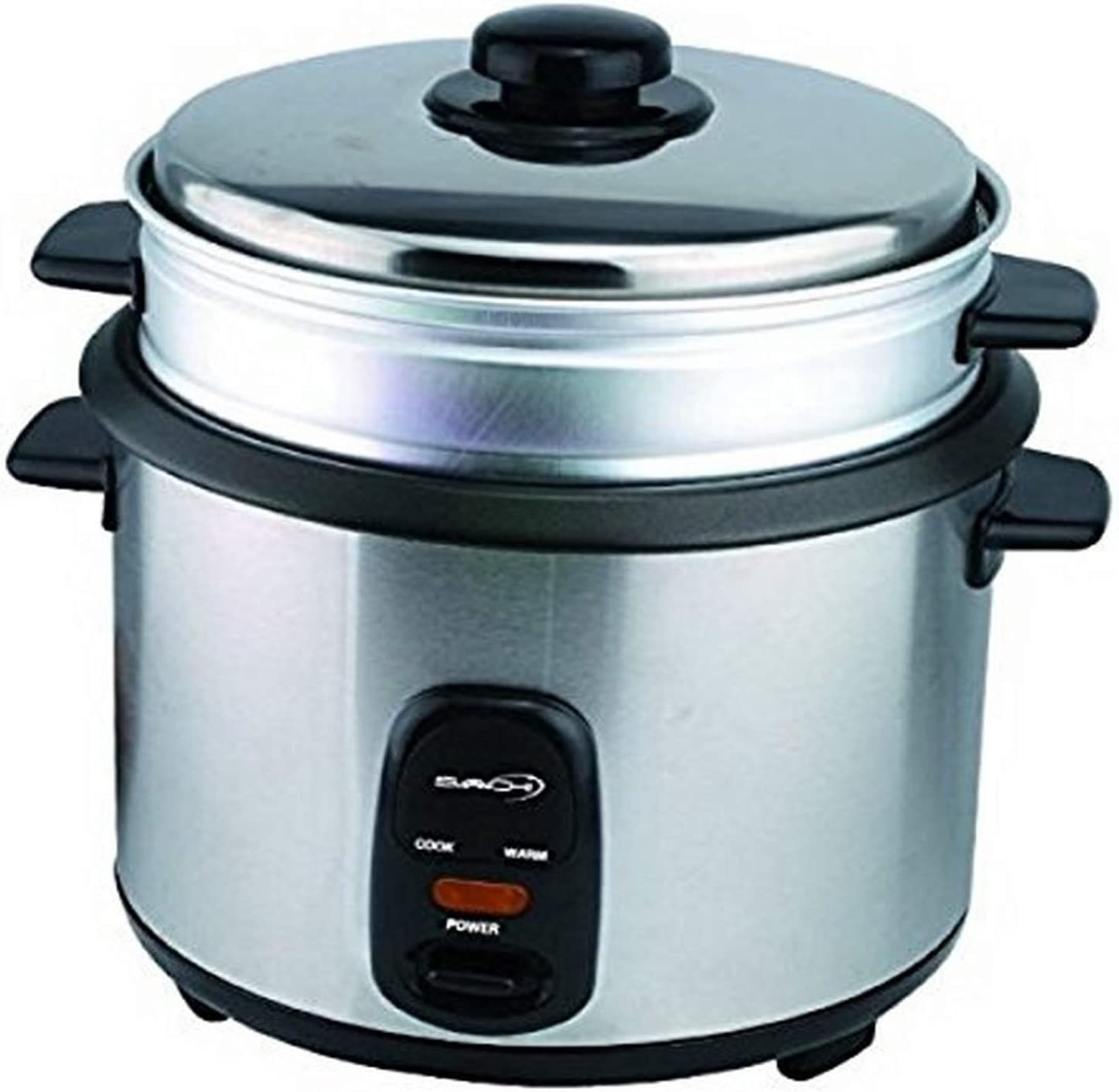 Saachi RC100 5 Cup Automatic Rice Cooker (Uncooked) with Vegetable Food Steamer and Keep Warm, Stainless Steel and Non-Stick Pot, Silver