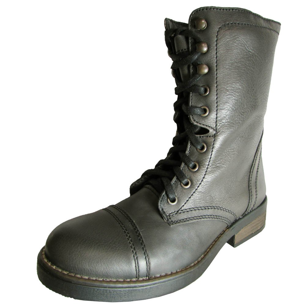 Steve Madden damen Munch Leather Military Style Stiefel, grau, US 5.5