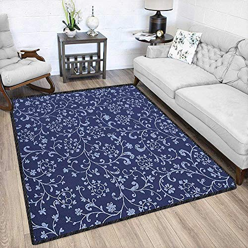 - Floral Fashionable and Affordable Rugs,Victorian Baroque Style Classic Swirled Flowers with Damask Effects Pattern Textured Geometric Design Indigo Violet Blue 67