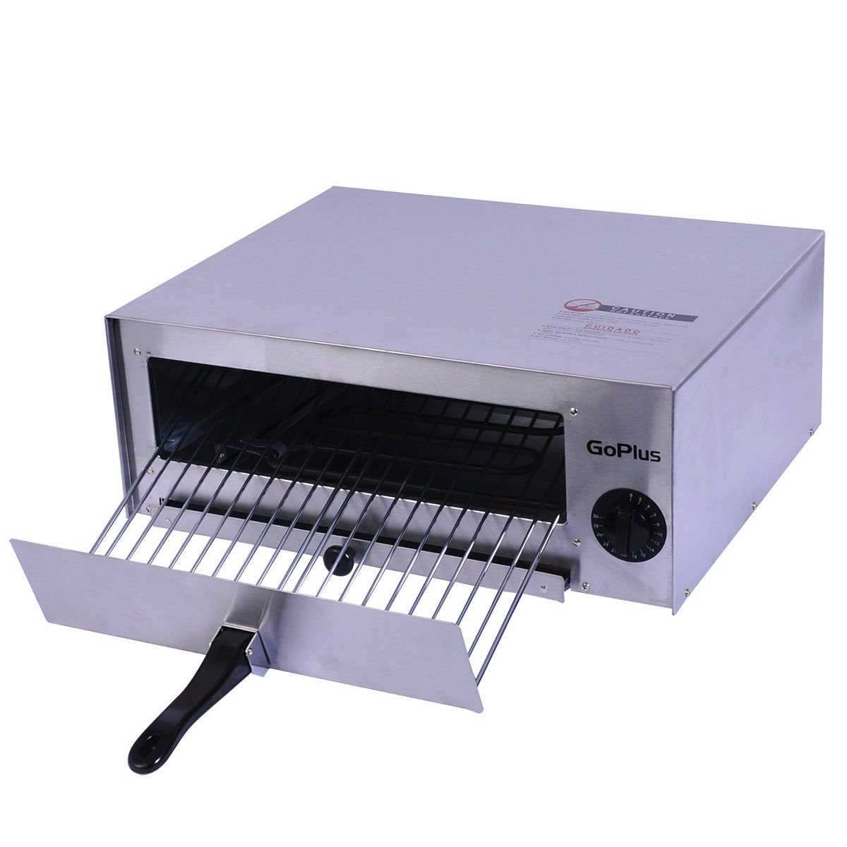 Electric Restaurant Kitchen Countertop 12'' Pizza Baking Oven Stainless Steel Cheese Breads Pretzels Baking Pan w/ Wire Baking Rack Temperature Control Timer