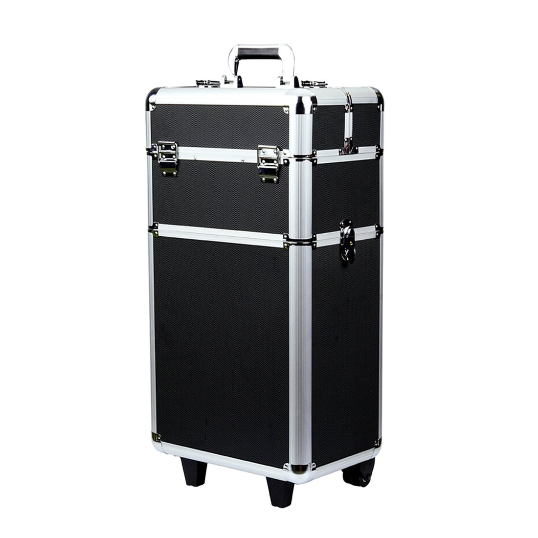 Rolling Makeup Case 3 in 1 Aluminum Professional Trolley Train Case Organizer Cosmetic Box Wheeled Artist Travel (Black) ( US STOCK )