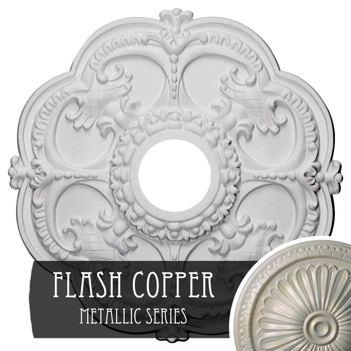 Flash Copper Ekena Millwork CM17ROUWF redherham Ceiling Medallion, 18 OD x 3 1 2 ID x 1 1 2 P, Ultra Pure White