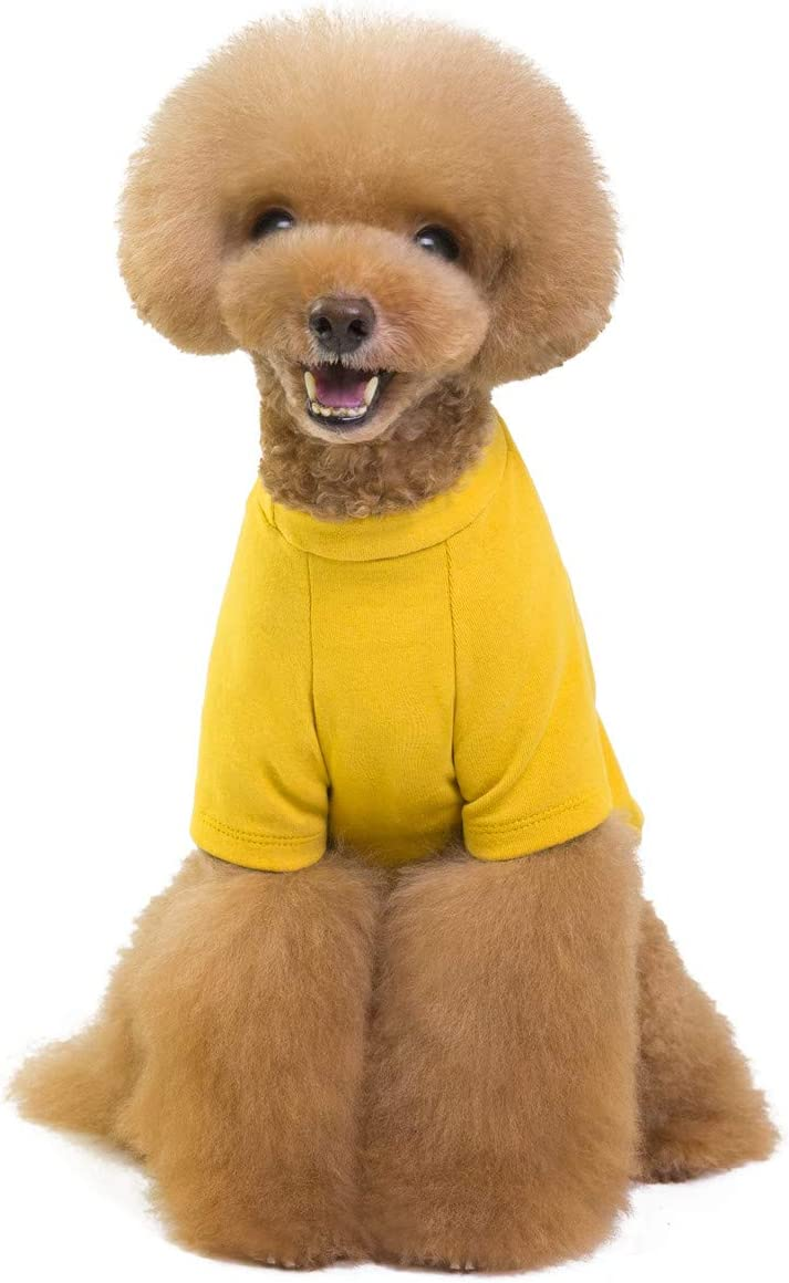 Weight 1.2-9.0 KGS Pet Heroic Puppy Dog Cat T-Shirts Summer Dog Puppy Basic Shirts Clothes Spring Summer Autumn Navy Blue Wine Red Fashion Yellow Pure colors Only for Small Dogs Cats Puppy