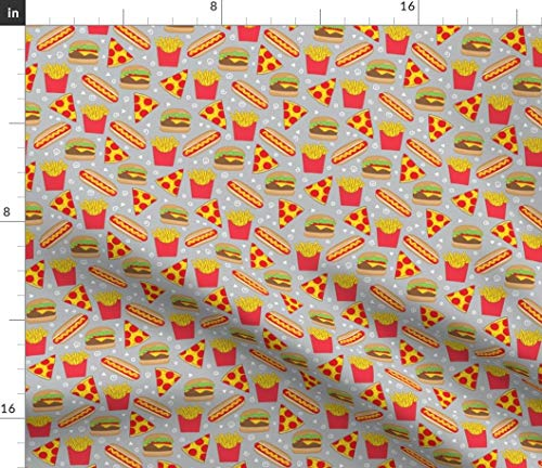 Spoonflower Fast Food Fabric - Junk Food Cheeseburger Burger and Fries Hot Dog Pepperoni Pizza Pizza by Lilcubby Printed on Performance Piqué Fabric by The Yard (Pique Advantage Knit)