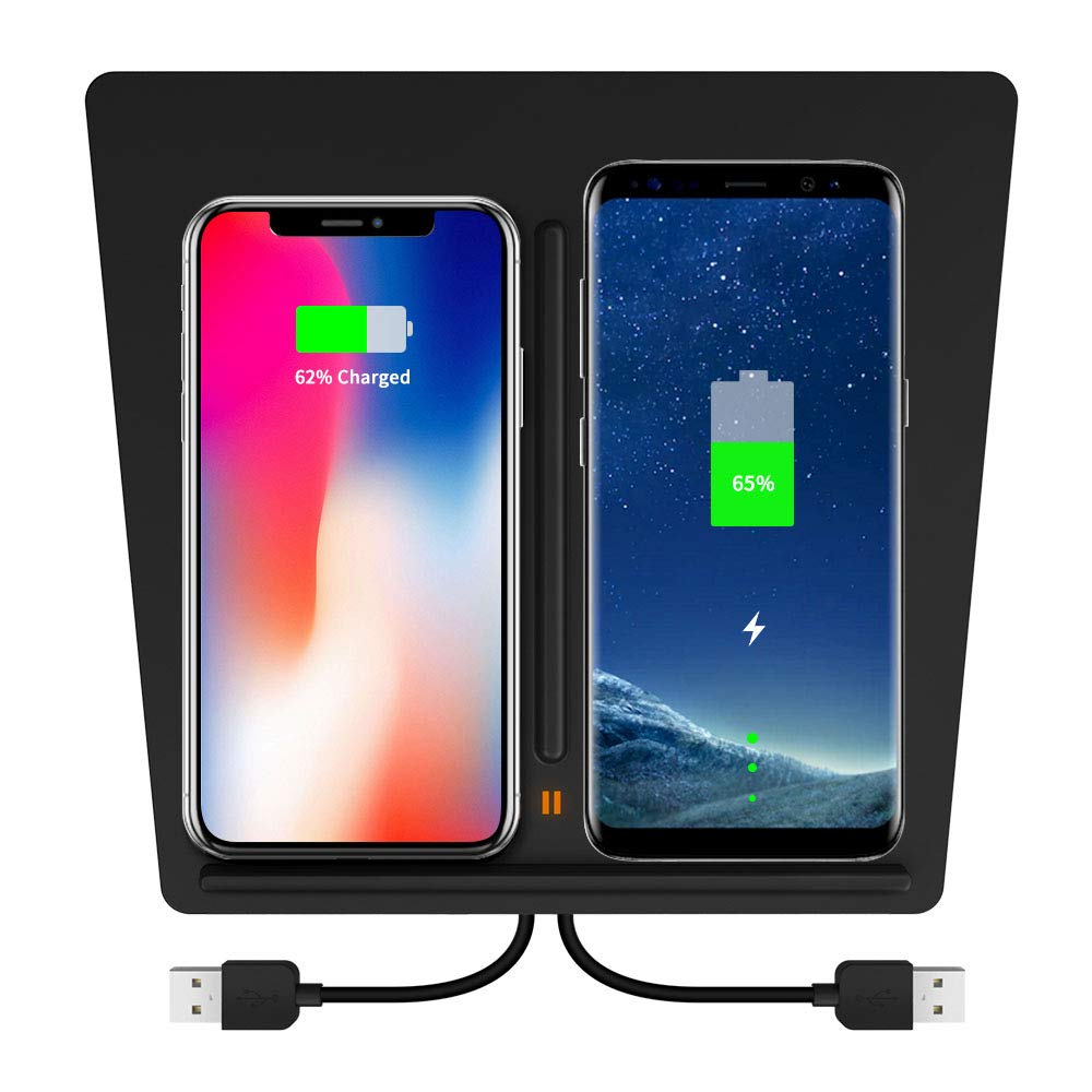 Wireless Charger for Tesla Model 3, KEEZINGTesla M3 Center Console Charging Pad with Dual USB Ports,Tesla Model 3 Wireless Charger for Any Qi Enable Phone by KEEZING