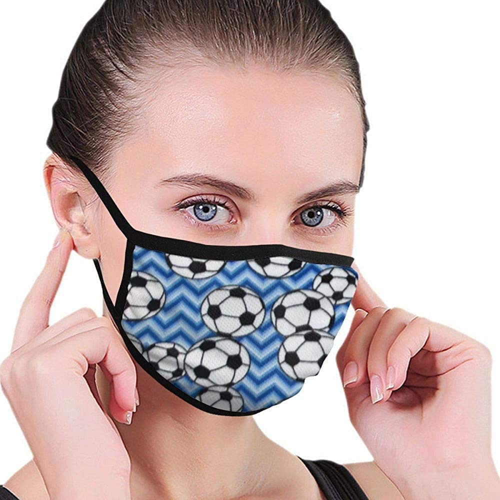 Máscara Azul de fútbol Máscara bucal Máscara Máscara Lavable de Belleza Lavable y Reutilizable con Banda elástica para Hombres y Mujeres para Todas Las Edades
