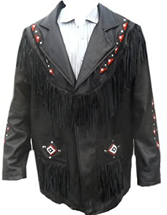 Xs-5xl Fringes /& Beads Classyak Western Original Leather Jacket