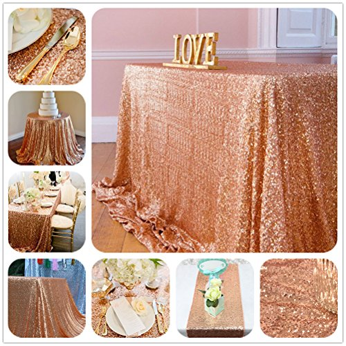 SoarDream Rose Gold Sequin Tablecloth 50x50 Inch glitter Square Table Cloth cheap tablecloths