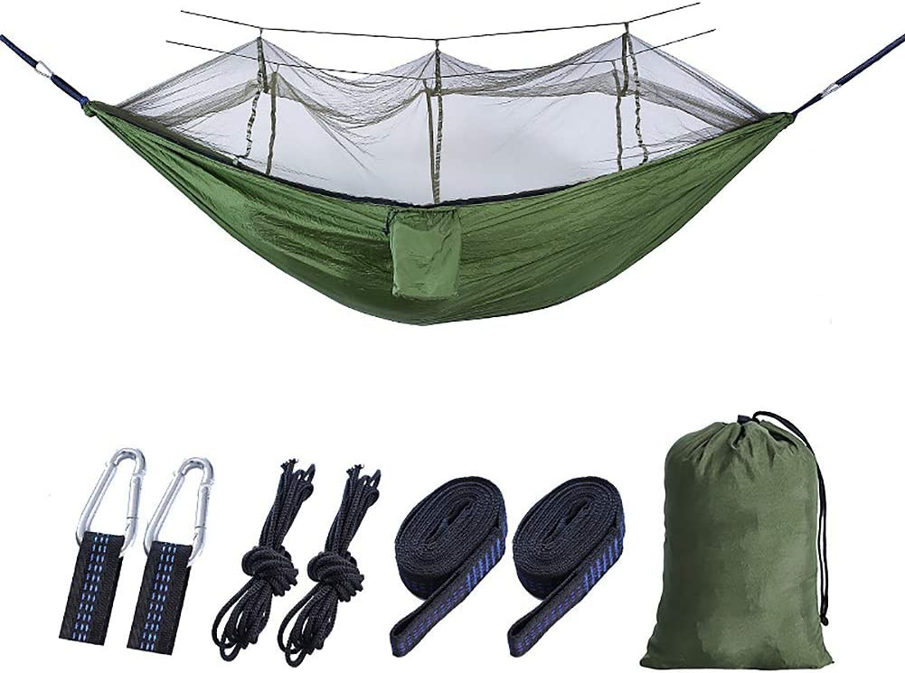 Nordmiex Double Portable Camping Hammock – Upgraded Carabiners Portable Hammock with Tree Straps Indoor Backyard Hammock Easy Setup Hammock – Holds 600 lbs