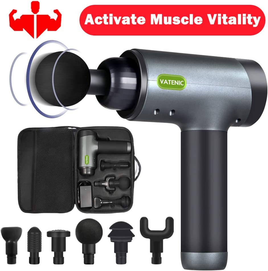 Massage Gun Deep Tissue Percussion Muscle Massager 5 Speeds Adjustable Super Quiet Brushless Motor Handheld Electric Full Body Massager for Pain Relief, Soreness with Portable Case