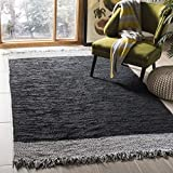 Safavieh Vintage Leather Collection VTL310E Hand-Woven Light Grey and Black Area Rug (5′ x 8′) For Sale