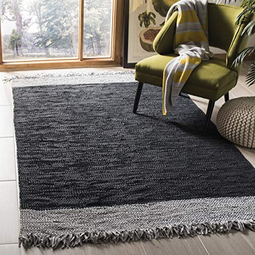 Vintage Hand Woven Rug - Safavieh Vintage Leather Collection VTL310E Hand-Woven Light Grey and Black Area Rug (5' x 8')