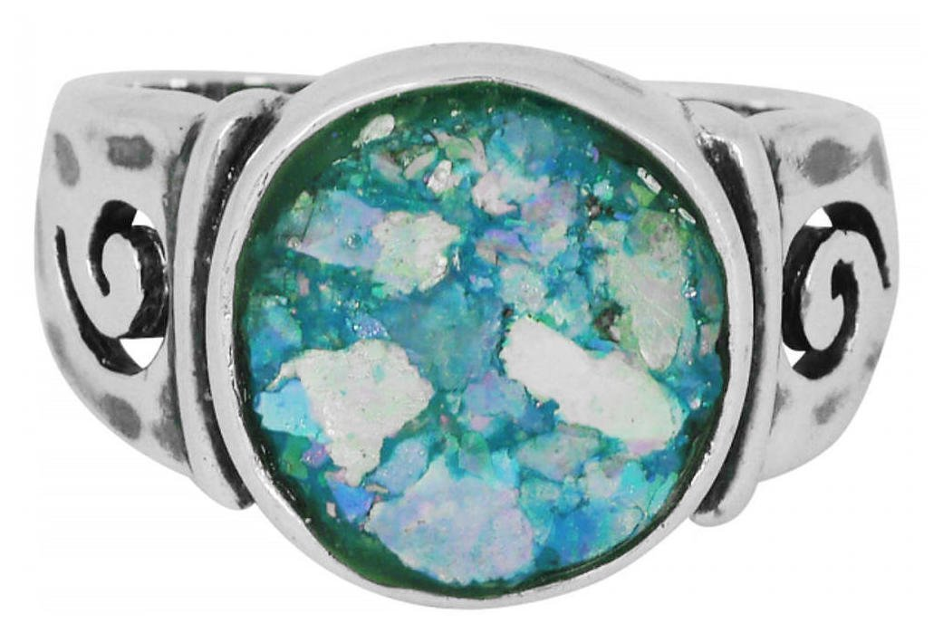 Sterling Silver Round Shape Roman Glass Band Ring| Ring Size| 7