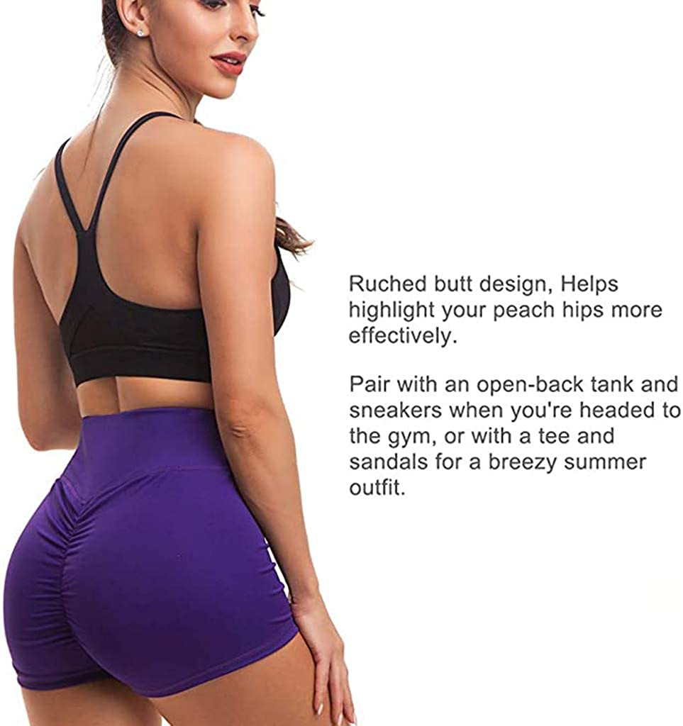 Dainzusyful Womens Ruched Butt Lifting Leggings High Waisted Workout Sport Tummy Control Gym Yoga Shorts Pants