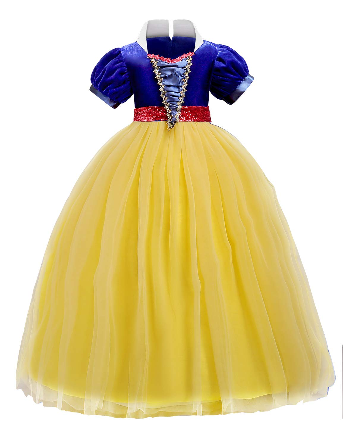 Quinee Costumes for Girls, Teen Girls Fancy Puffed Sleeve Ribbon Tie Satin Belt Beading Waist Dress Up Cotton Lining Contrast Color Ball Gown Dress for Disney Cruise Yellow 140(9-10Yr)
