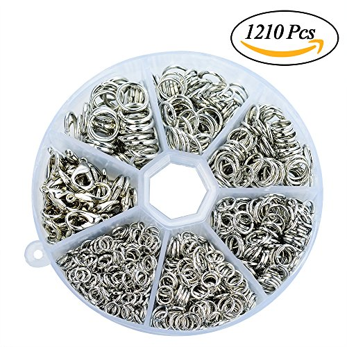1210 Pcs Open Jump Rings & Lobster Clasps, Bantoye 4MM 5MM 6MM 7MM 8MM 9MM Jewelry Findings Kit for Jewelry Making, Silver (6x4mm Oval Ring Setting)