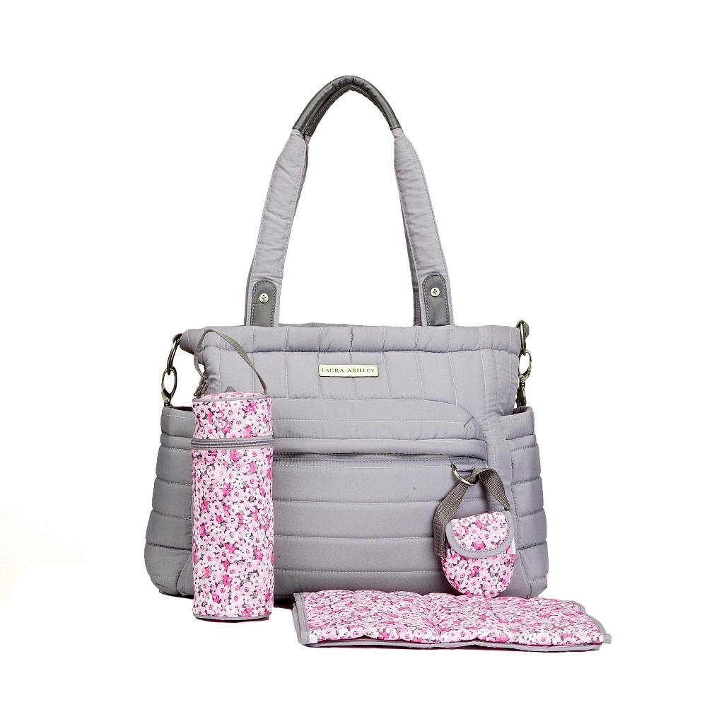 cd91460b4ced Amazon.com   Laura Ashley Solid Gray Quilted 5 1 Diaper Bag   Baby