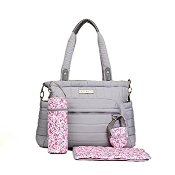 66b0841ff86 Amazon.com   Laura Ashley Solid Gray Quilted 5 1 Diaper Bag   Baby