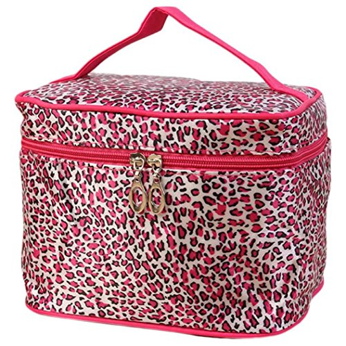 Clearance! Portable Large Toiletry Bag Cosmetic Travel Case Makeup Bag Organizer Storage with Mirror Leopard Series (B)