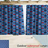 Zmacdk Home Patio Outdoor Curtain 4th of July Stars with American Flag Pattern Stripes with Halftone Shadows Great for Living Rooms & Bedrooms W55 x L63 Magenta Indigo Azure Blue