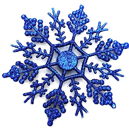 24 Pcs Large Snowflakes Acrylic Sparkling Glitter Snowflake Ornaments for Christmas Tree Home Wedding Party Window Party Decor Winter Decoration,Blue -
